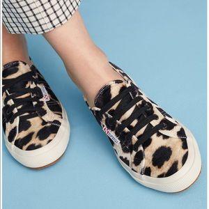 Superga Velvet Leopard Print Sneakers